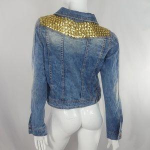 The Premium Wash Studded Denim Jean Jacket  L